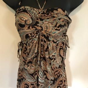 Brown and turquoise paisley Bandeau halter